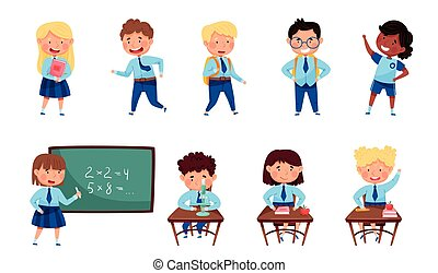 Children Attending Primary School Walking with Backpack and Sitting at Desk Vector Set