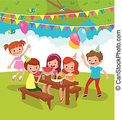 Children birthday party outdoors Stock vector cartoon illustration