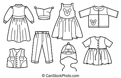 Silhouette of children clothes