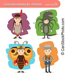 Children costumes. Injun and cowboy, butterfly and sea monster