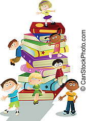 A vector illustration of students and books, can be used for children education concept