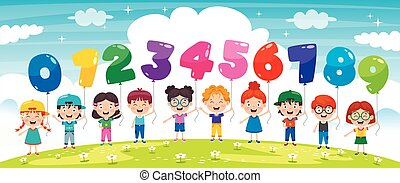 Children Holding Colorful Number Balloons