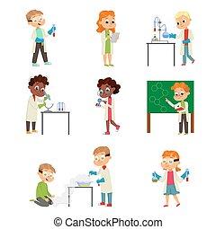 Children in Laboratory Coat Attending Chemistry Lesson Vector Set