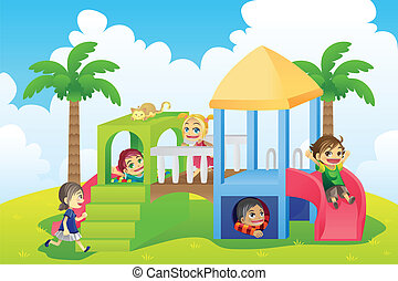 A vector illustration of a group of children playing in the playground