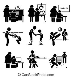 Set of pictogram representing common child lesson such as learning piano or music, art and paintings, swimming, martial arts like karate, football, computer, dancing, and studies.
