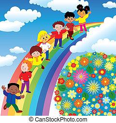 Children on rainbow slide. Vector art-illustration on a blue background.