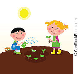 Boy and girl planting little plants on the farm. Vector Illustration.