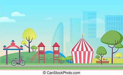 Children playground in big city cartoon flat landscape background vector illustration. Colorful attractions, striped tent, trees, playful slides, sandbox with tiny baskets, skyscrapers in mist.