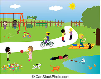 Vector illustration of children of different races (and their pets) playing together in the park. I have other files of this type in my portfolio.