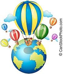 Children riding on balloon around the world