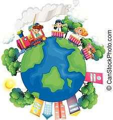 Children riding on train around the world