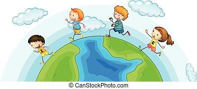 Children running around the world