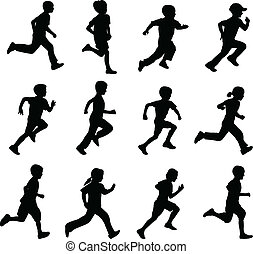 set of running children silhouettes - vector