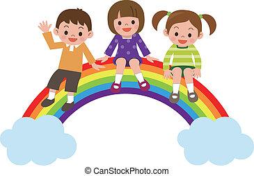 Children sit in rainbow