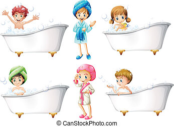 Illustration of the children taking a bath on a white background