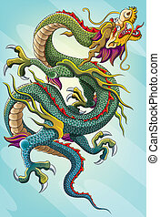 chinese dragon painting for your chinese new year 2012 celebration. This illustration contains a transparency blend, which makes up the shadows shape for the dragon. This file EPS 10 version