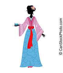 Chinese woman in traditional costume with a bird