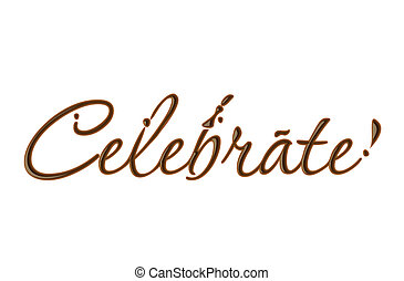 Chocolate celebrate text made of chocolate vector design element.