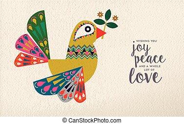 Christmas and New Year dove bird folk art card
