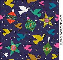Christmas background of colorful dove decoration