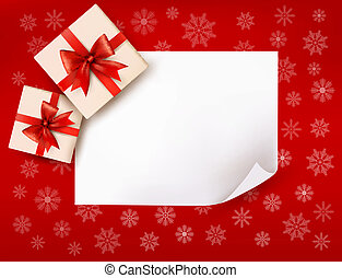 Christmas background with gift boxes and red bow. Vector illustration