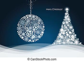 Christmas ball and Christmas tree with snowflakes. Vector illustration.