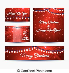 Christmas banners with garlands