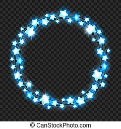 Christmas blue star light garland