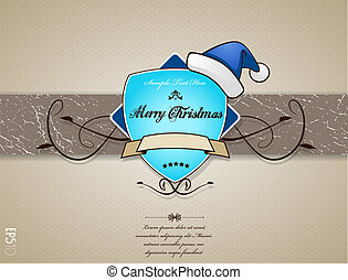 Christmas card with blue hat.