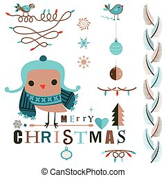 christmas design elements set