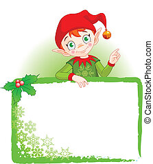 Cute Christmas Elf with a place card or invite
