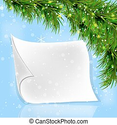 Christmas fir twigs with white paper scroll