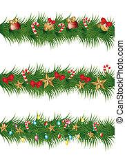 christmas garland with balls, stars and lights. vector illustration
