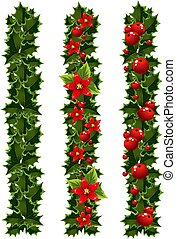 Christmas garlands of holly