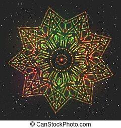 Christmas Glowing Celebratory Colorful Star.