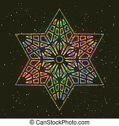 Christmas Glowing Colorful Hexagonal Star.
