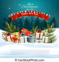 Christmas holiday background with presents on a sleigh and Santa Claus. Vector illustration