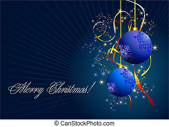 Christmas - New Year shine card with blue balls