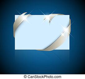 Christmas or wedding card - silver ribbon around blank blue paper