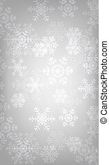 Christmas silver background with glowing snowflakes and bokeh