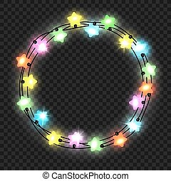 Christmas star light garland on transparent