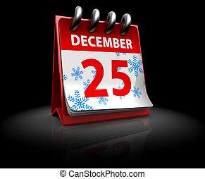 3d illustration of Christmas calendar over black background