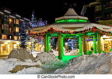 Christmas night decoration in town