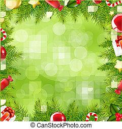 Christmas Tree Border With Blur, Vector Illustration