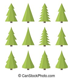 Christmas Tree Icon Set. Flat Style Vector