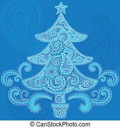 Christmas Tree Paisley Henna Vector
