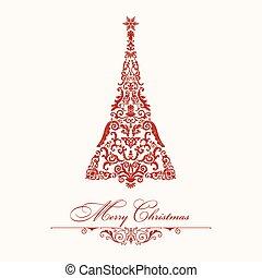 Christmas tree. Red vintage illustration