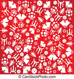 Christmas wrapping paper with red symbols gifts, decorations and bells