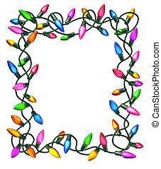 Christmas lights frame isolated on a white background as a decorated border with illuminated colourful bulbs on tangled electric wire..