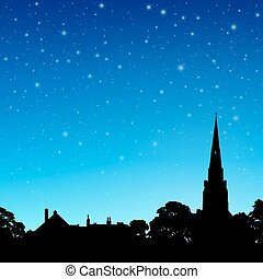 Church Spire with Night Sky